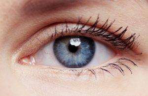 Macro shot of human eye and eyelid with red veins